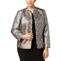 Kasper Womens Plus Open-Front Blazer Satin Business