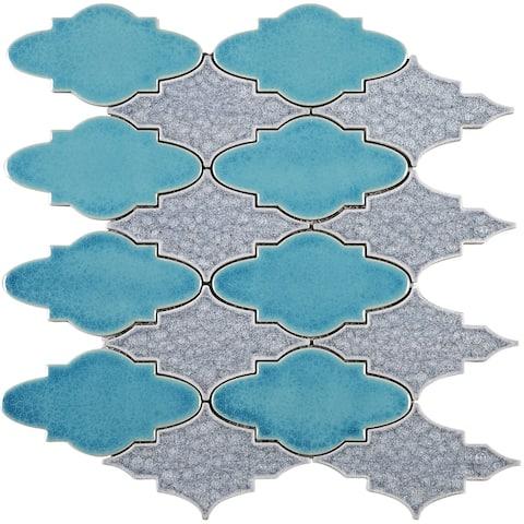 "TileGen. Roman Art Mario Random Sized Ceramic 4"" x 4"" Glass Splitface Tile in Blue Wall Tile (10 sheets/11.9sqft.)"