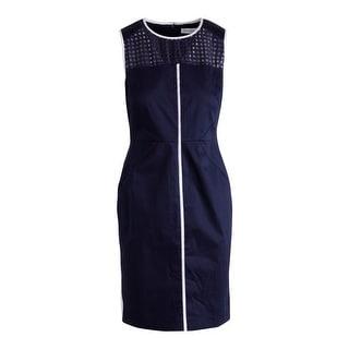 Calvin Klein Womens Contrast Trim Sleeveless Wear to Work Dress