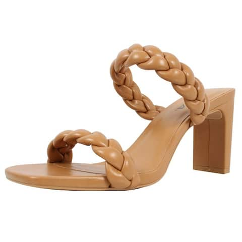Soda Women's Braided Open Toe Double Strap Heels