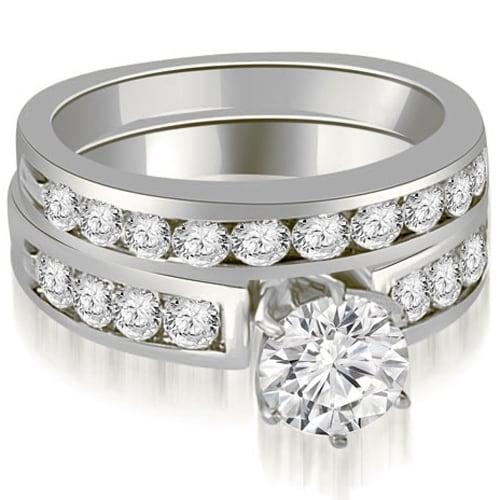 1.95 cttw. 14K White Gold Round Cut Diamond Engagement Set