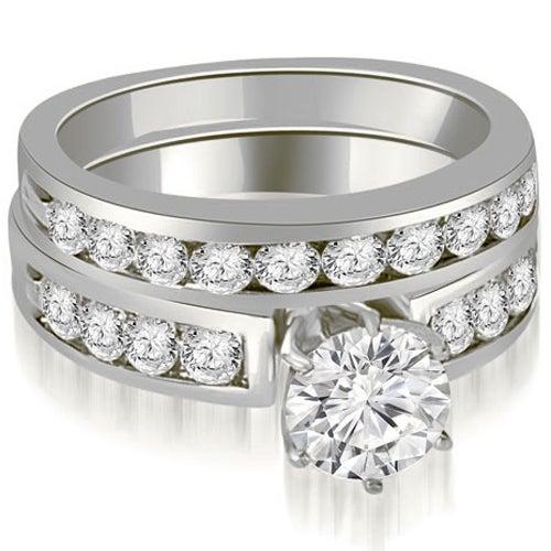 2.20 cttw. 14K White Gold Round Cut Diamond Engagement Set