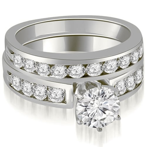 2.45 cttw. 14K White Gold Round Cut Diamond Engagement Set