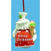 """4"""" Santa Claus Chef with Ice Cream Cone Jingle Bell Christmas Ornament"""