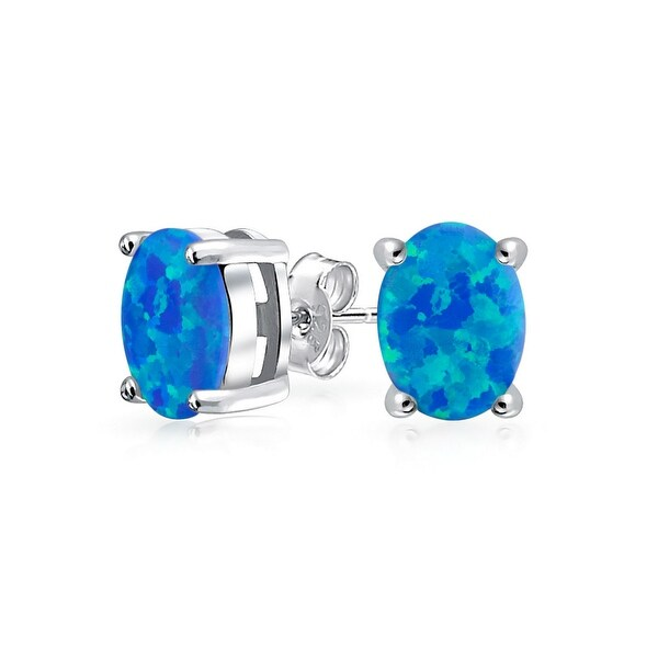 Bling Jewelry Oval Imitation Blue Opal Stud Earrings 925 Sterling Silver 8mm
