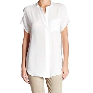 TopShop White Ivory Women's Size Large L Button Down Shirt Silk