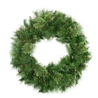 "24"" Pre-Lit Mixed Cashmere Pine Artificial Christmas Wreath - Multi-Color Lights - green"