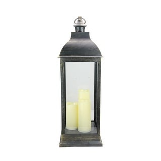 """28"""" Large Gold Brushed Black Candle Lantern with Flameless LED Candles - N/A"""