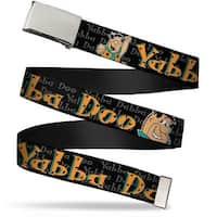 Blank Chrome  Buckle Fred Face Pose Yabba Dabba Doo Black Gray Orange Web Belt