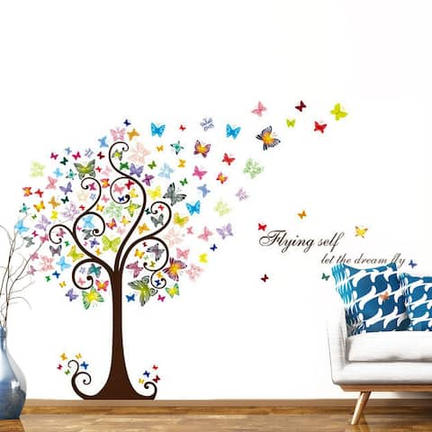 Butterflies Tree Pattern Wall Sticker Self-stick Decal for Living Room - White