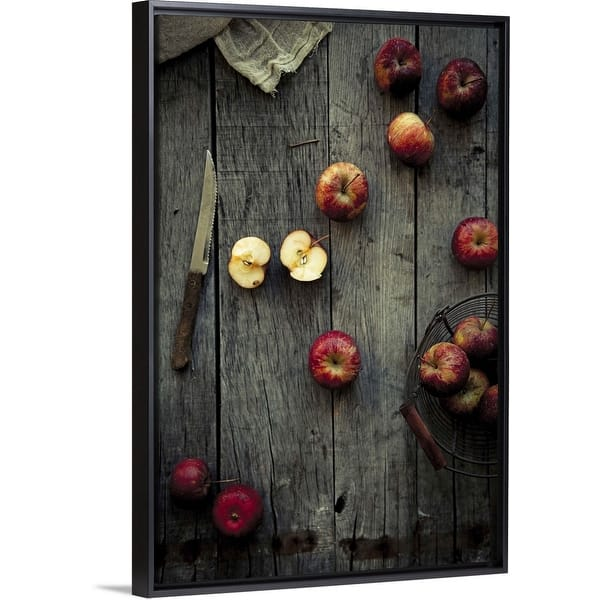Cute Apple Black Float Frame Canvas Art Overstock Com Shopping The Best Deals On Framed Canvas 32602703