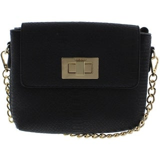 Bebe Womens Zoe Embossed Convertible Crossbody Handbag - Black - SMALL