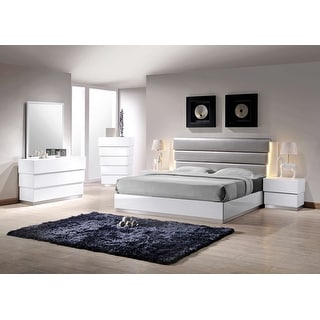 Best Master Furniture White/ Silver Lacquer 5-piece Bedroom Set