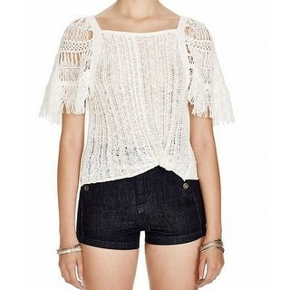 Free People NEW White Ivory Women's Size Large L Fringed Knit Top