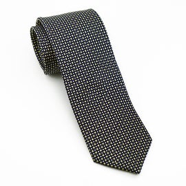 Men's 100-percent Silk Black and Yellow Jacquard Tie