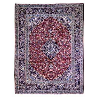 """Shahbanu Rugs Red Semi Antique Persian Kashan Excellent Condition Full Pile Natural Wool Hand Knotted Oriental Rug (9'9""""x12'2"""")"""