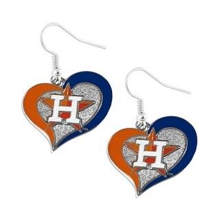 Houston Astros Swirl Heart Dangle Earring Set MLB Charm Gift