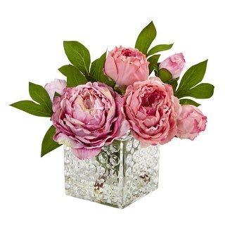 Nearly Natural Home Decor Peony in Glass Vase
