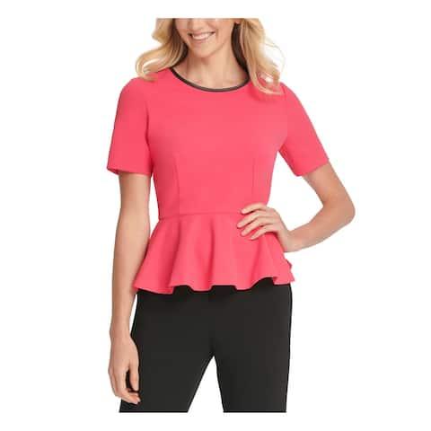 DKNY Womens Pink Short Sleeve Jewel Neck Empire Waist Top Size L