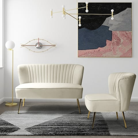 Monica Upholstered Loveseat with Reccessed Arms