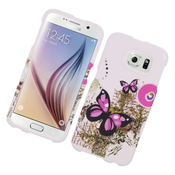 Insten Pink/ White Butterfly Hard Snap-on Rubberized Matte Case Cover For Samsung Galaxy S6
