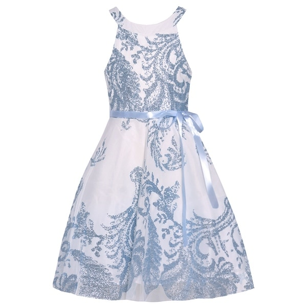 8d740d238cd Shop Tween Diva Girls Periwinkle Blue Embroidered Tea-Length Easter Dress -  Free Shipping Today - Overstock - 27861292