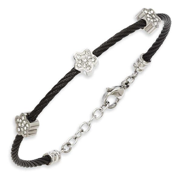 Stainless Steel CZ Stars Black IP Plated Twisted Wire 7.5in with ext Bracelet