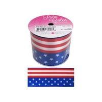 "Morex Ribbon Wire Stars & Stripes 2.5""x 3yd R/W/B"