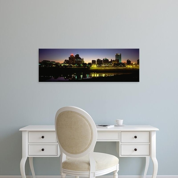 Easy Art Prints Panoramic Images's 'Buildings At The Waterfront Lit Up At Dawn, Memphis, Tennessee, USA' Canvas Art