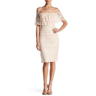 Sharagano Womens Petite Off-Shoulder Lace Sheath Dress