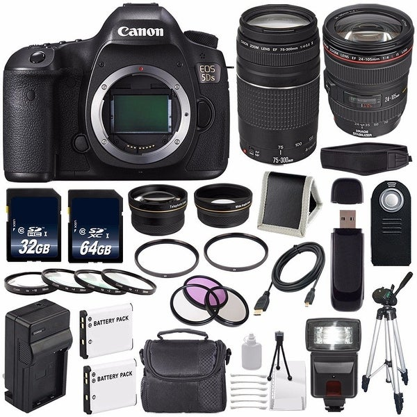 Canon EOS 5DS DSLR Camera (International Model) 0581C002 + Canon EF 24-105mm f/4L IS USM Lens + EF 75-300 III Bundle
