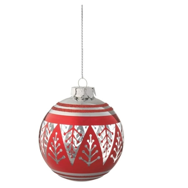 """3.75"""" Alpine Chic Red and Silver Christmas Tree Design Glass Ball Ornament"""