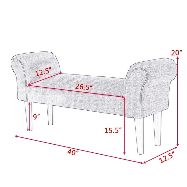 """40/"""" Upholstered Armed Bed Bench For Bedroom Entryway Hallway Bed End Chair"""