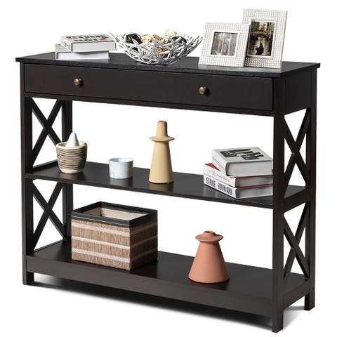 3-Tier Console Table X-Design Entryway Table with Drawer