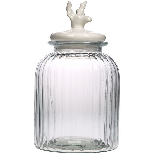 Palais Glassware Preserving Glass Canister Food Jar with Ceramic Lid Handle (Medium, Striped Pattern with White Deer Lid)