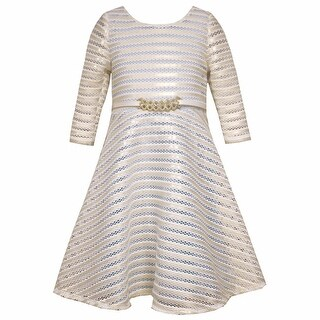 Bonnie Jean Little Girls Gold Ivory Striped Long Sleeve Occasion Dress