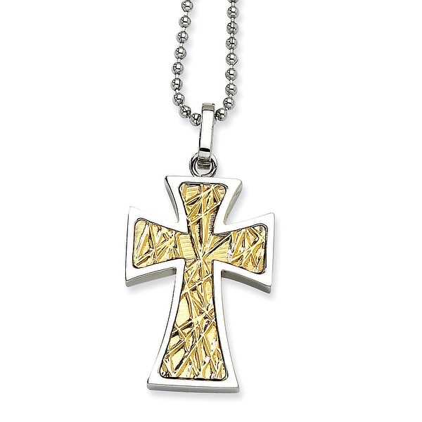 Chisel Stainless Steel 14k Gold Cross Pendant 22 Inch Necklace (1 mm) - 22 in