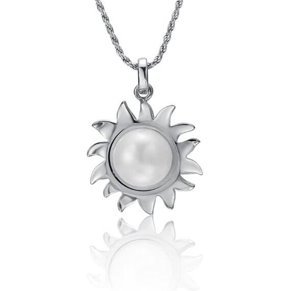 "Sun Pearl Necklace Sterling Silver Pendant 18"" Chain"