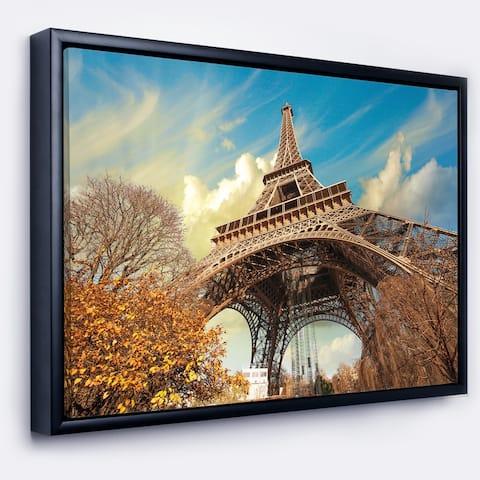 Designart 'Eiffel with Winter Vegetation' Skyline Photography Framed Canvas Art