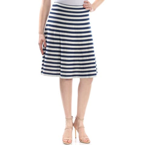 ST JOHN Womens Navy Striped Below The Knee A-Line Wear To Work Skirt Size: 16