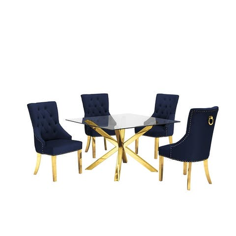 Best Quality Furniture Gold Stainless Steel 5-Piece Dining Set