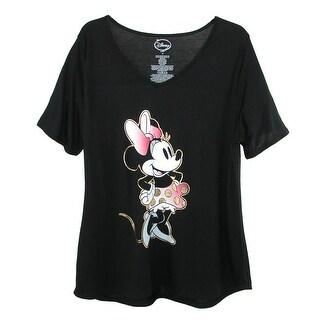 Disney Women's Plus Size Minnie Mouse V Neck T Shirt - Black