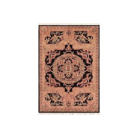 "Pak-Persian Firdous Black Pink Wool Rug - 6'2 x 9'0 - 6'2"" x 9'0"""