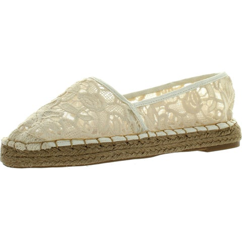 Dollhouse Womens Flirt Espadrille Lace Comfortable Fashion Flats Shoes - beige lace