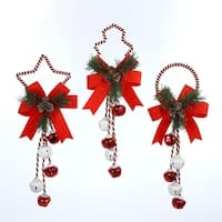 """Club Pack of 12 Red and White Christmas Bell with Holly Christmas Door Hangers 14"""""""