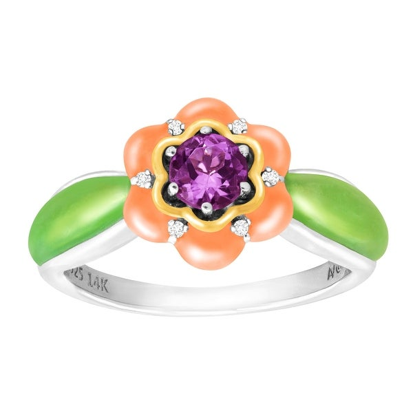 1/3 ct Amethyst Flower and Enamel Ring with Diamonds in Sterling Silver and 14K Gold - Purple
