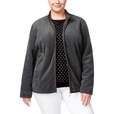 Karen Scott Sports Womens Plus Fleece Jacket Zipper Heathered