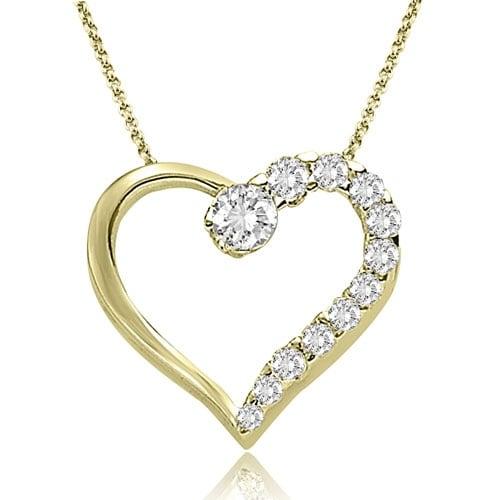 0.50 cttw. 14K Yellow Gold Round Cut Diamond Heart Shape Pendant - White H-I