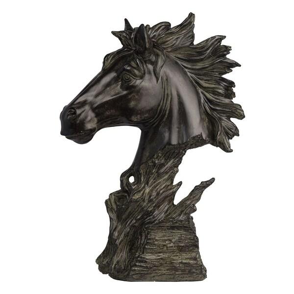 "15.5"" Antique Bronze Horse Head Stand - N/A"