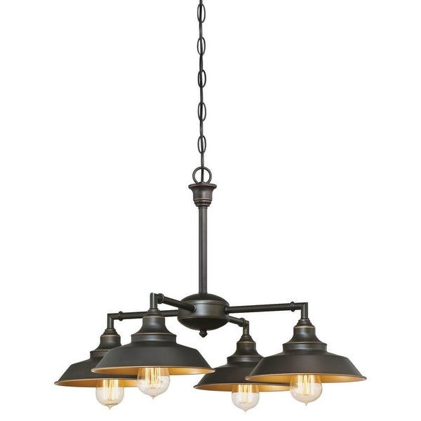 """Westinghouse 6345000 Iron Hill 4 Light 9"""" Wide Single Tier Shaded Chandelier with Metal Shades - Oil Rubbed bronze"""